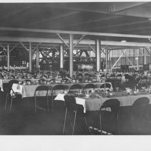 Tables set in dining hall.