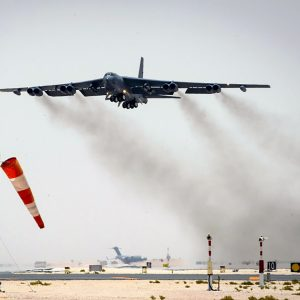 A B-52 Stratofortress takes off using a water/alcohol injection system (2017)