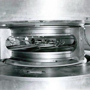Closeup of cyclotron magnets.