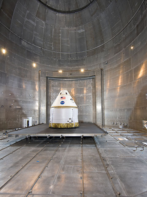 Inflated Full Scale Crew Exploration Vehicle CEV Command Module Mock Up Inside The Station Space Power Facility SPF Vacuum Chamber