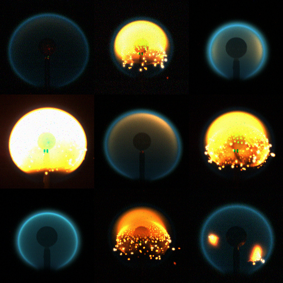 A composite of flame images from 9 different tests of the Flame Design experiment