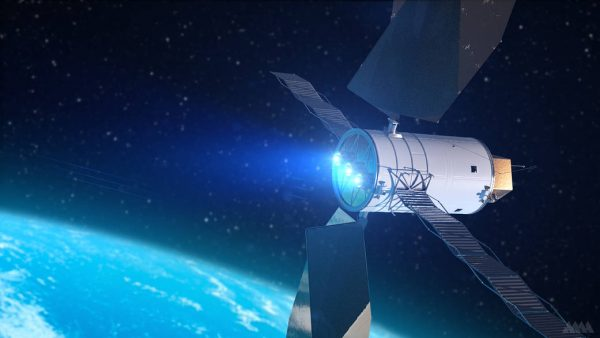 Artist rendition of electric engines powering spacecraft out of Earth orbit.
