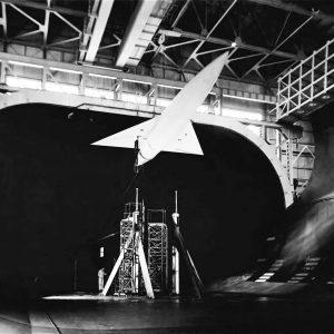 Model in wind tunnel.