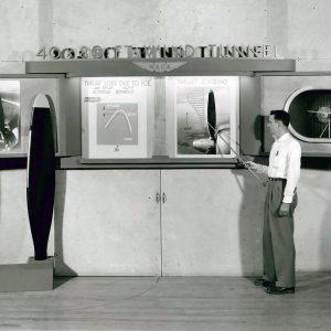 Man at tunnel display.