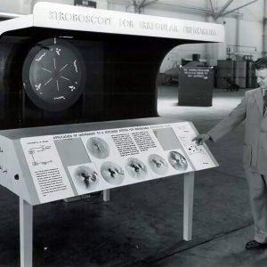 Man with exhibit.