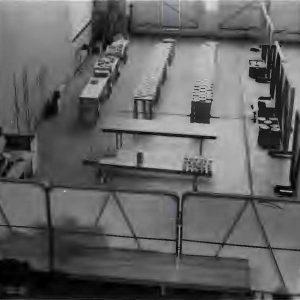 Tables in hangar.