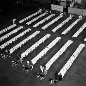 Empty tables in hangar.