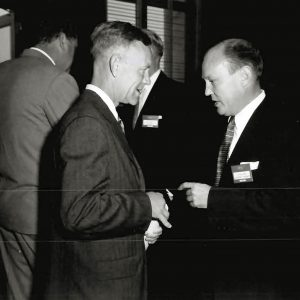 Ames Associate Director Carl Bioletti (left) and talks with Northrop Aircraft's John Alison at the 1955 Inspection.