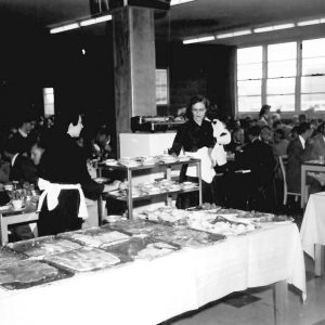 Lunch service in cafeteria.