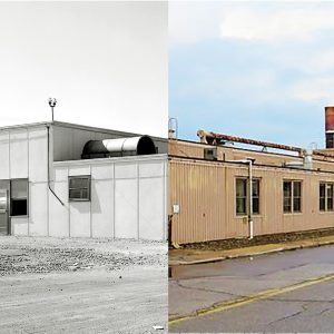Split photo showing the exterior or the SPL in 1943 and 2017.