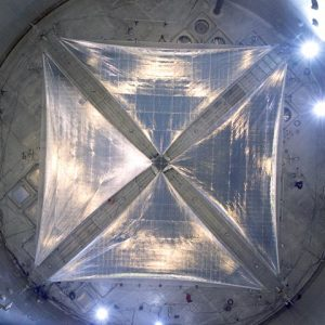 ATK 20 meter solar sail being deployed in the Space Power Facility.