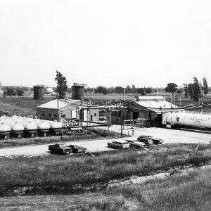 View of A Site from the west with railroad tank cars