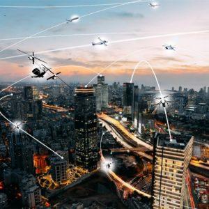 futuristic illustration depicting communications between aircraft