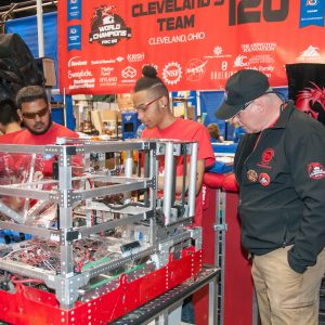 2017 - Team 120 from Cleveland works on their robot in the pit area.