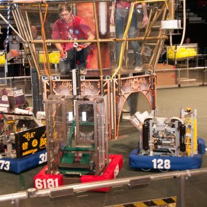 This is another view of the field with robots around during a competition.