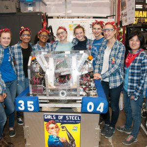 Studen ts from one of our all-girls teams take a break from the competition to pose for the camera.