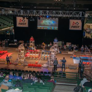 Here is an overall view of the playing field at thee 2019 Buckeye Regional Robotics Competition.