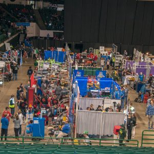 Here is an overall view of the pitss area at the 2019 Buckeye Regional Robotics Competition. The Pits area is where teams make repairs and adjustments to their robot during the 3-day competition.