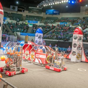 On the playing field during a match at the 2019 Buckeye Regional Robotics Competition.