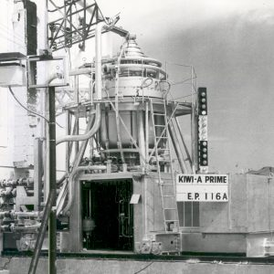 Kiwi A reactor on railcar at Los Alamos