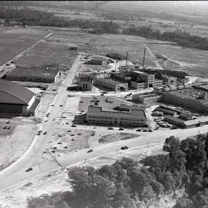 Aerial view of engine lab construction.