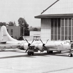 B-29 bomber on hangar apron.