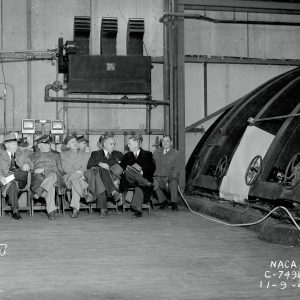 General Arnold and NACA officials tour the Altitude Wind Tunnel.