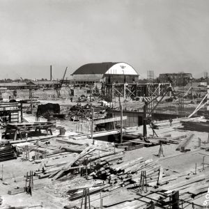 AERL construction site with hangar in background