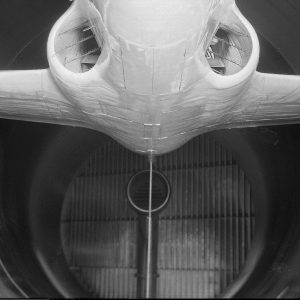 Lockheed YP-80A in Altitude Wind Tunnel with Air Scoop behind.