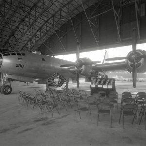 B-29 bomber inside the hangar.