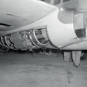 GE I-16 engine underneath Bell YP-59A fuselage.
