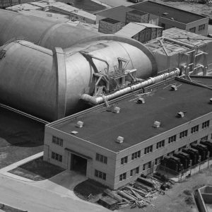 Aerial view of Refrigeration Bldg. and cooling lines into AWT.