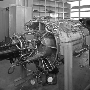 TG-180 engine on stand in Altitude Wind Tunnel shop.