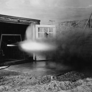 Rocket firing horizontally out of test cell