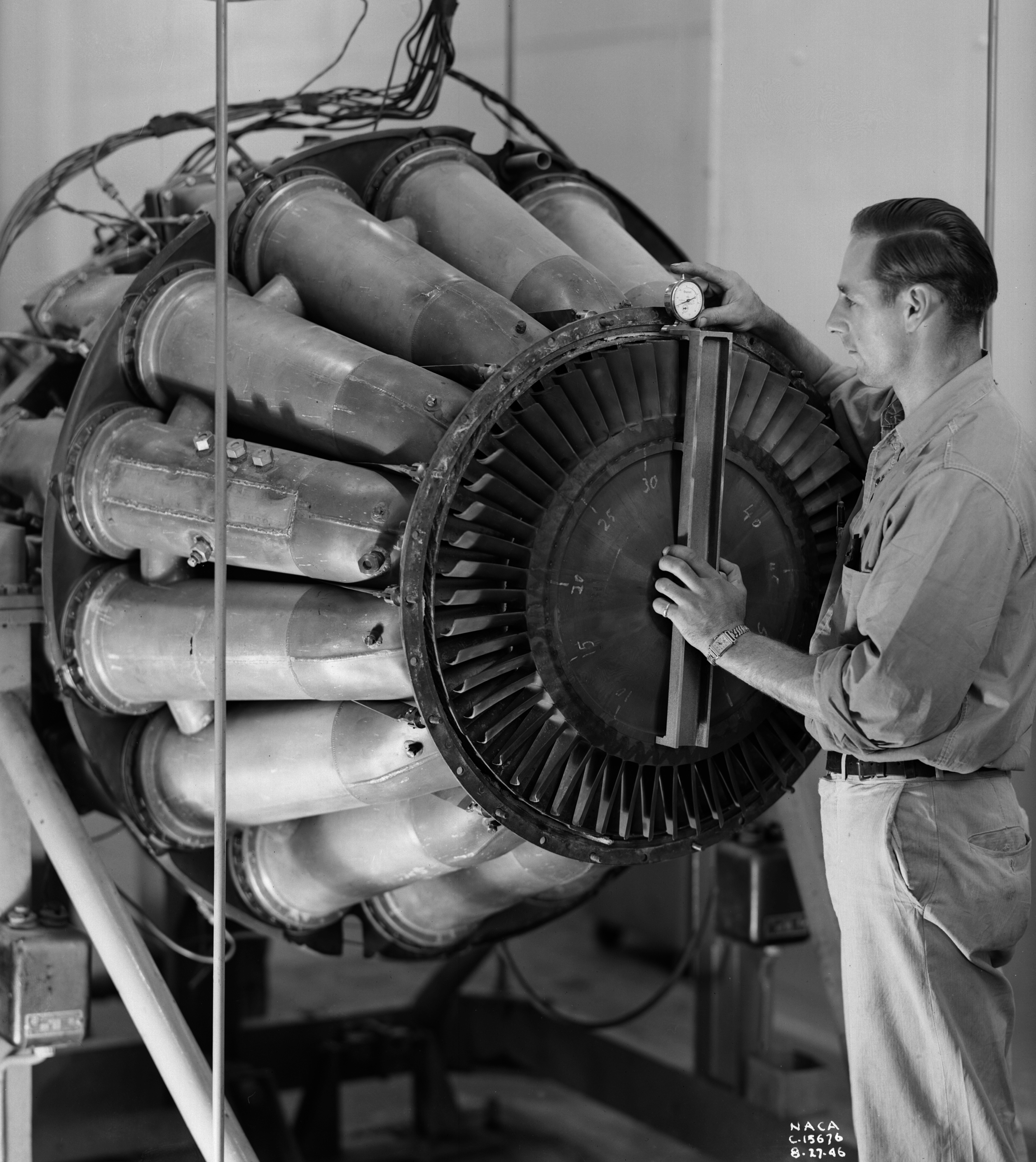 Turbojet Enhancements Nasa Glenn Research Center Diagram Of A Standard Jet Engine Mechanic Checks Out Ge I 40 Equipped With Tailpipe Burner