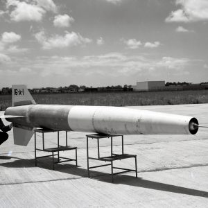 Small missile on stand.