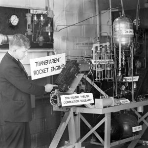 Man with rocket test rig.