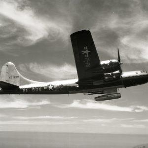 B-29 bomber in flight.