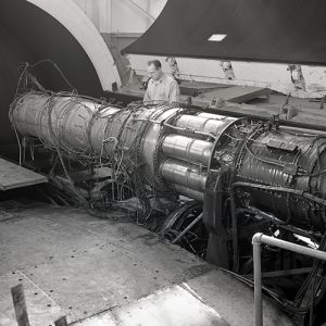 Mechanics work on TG-190 engine in AWT test section
