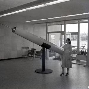 Model missile in lobby display.