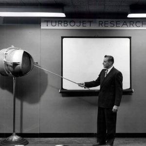 Researcher with nozzle exhibit
