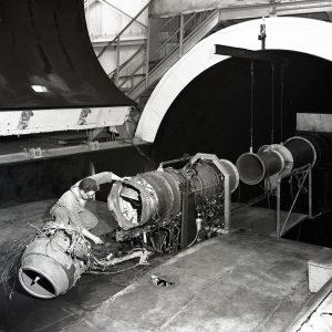 Damaged engine in test section.