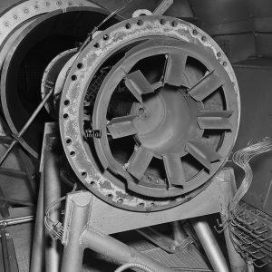 Damaged flameholder for the Marquardt RJ43 ramjet engine