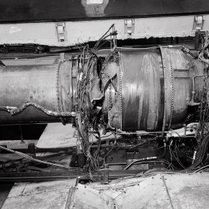 Damaged J57 engine in AWT test section .