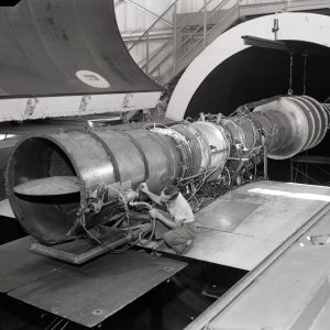 Mechanic with J71 in AWT test section.