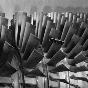 Damaged compressor blades on a General Electric J-19 turbojet tested at PSL.