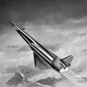 Drawing of North American Aviation's Navaho missile in flight.