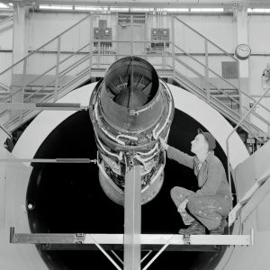 Pratt & Whitney J57 engine installed in the Altitude Wind Tunnel test section.