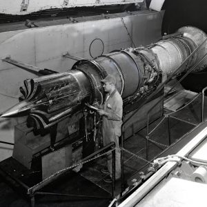 Pratt & Whitney J57 engine installed in the Altitude Wind Tunnel with a Greatex No.2 nozzle.