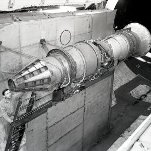 Pratt & Whitney J57 with a General Electric nozzle tested in the Altitude Wind Tunnel.